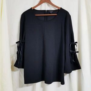 Ann Taylor tied bell sleeve top black velvet ties